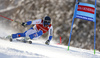 Andre Myhrer of Sweden skiing in the first run of the men giant slalom race of Audi FIS Alpine skiing World cup in Kranjska Gora, Slovenia. Men giant slalom race of Audi FIS Alpine skiing World cup, was held in Kranjska Gora, Slovenia, on Friday, 4th of March 2016.