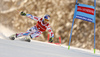 Alexis Pinturault of France skiing in the first run of the men giant slalom race of Audi FIS Alpine skiing World cup in Kranjska Gora, Slovenia. Men giant slalom race of Audi FIS Alpine skiing World cup, was held in Kranjska Gora, Slovenia, on Friday, 4th of March 2016.