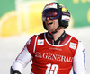 Justin Murisier of Switzerland reacts in finish of the second run of the men giant slalom race of Audi FIS Alpine skiing World cup in Kranjska Gora, Slovenia. Men giant slalom race of Audi FIS Alpine skiing World cup, was held in Kranjska Gora, Slovenia, on Friday, 4th of March 2016.