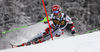 Marco Schwarz of Austria skiing in the first run of the men slalom race of Audi FIS Alpine skiing World cup in Kranjska Gora, Slovenia. Men slalom race of Audi FIS Alpine skiing World cup, was held in Kranjska Gora, Slovenia, on Sunday, 6th of March 2016.