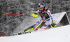 Alexis Pinturault of France skiing in the first run of the men slalom race of Audi FIS Alpine skiing World cup in Kranjska Gora, Slovenia. Men slalom race of Audi FIS Alpine skiing World cup, was held in Kranjska Gora, Slovenia, on Sunday, 6th of March 2016.