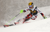 Marcel Hirscher of Austria skiing in the first run of the men slalom race of Audi FIS Alpine skiing World cup in Kranjska Gora, Slovenia. Men slalom race of Audi FIS Alpine skiing World cup, was held in Kranjska Gora, Slovenia, on Sunday, 6th of March 2016.