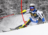 Anton Lahdenperae of Sweden skiing in the first run of the men slalom race of Audi FIS Alpine skiing World cup in Kranjska Gora, Slovenia. Men slalom race of Audi FIS Alpine skiing World cup, was held in Kranjska Gora, Slovenia, on Sunday, 6th of March 2016.