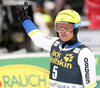 Mattias Hargin of Sweden reacts in finish of the second run of the men slalom race of Audi FIS Alpine skiing World cup in Kranjska Gora, Slovenia. Men slalom race of Audi FIS Alpine skiing World cup, was held in Kranjska Gora, Slovenia, on Sunday, 6th of March 2016.