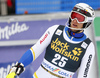 Anton Lahdenperae of Sweden reacts in finish of the second run of the men slalom race of Audi FIS Alpine skiing World cup in Kranjska Gora, Slovenia. Men slalom race of Audi FIS Alpine skiing World cup, was held in Kranjska Gora, Slovenia, on Sunday, 6th of March 2016.