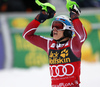 Henrik Kristoffersen of Norway reacts in finish of the second run of the men slalom race of Audi FIS Alpine skiing World cup in Kranjska Gora, Slovenia. Men slalom race of Audi FIS Alpine skiing World cup, was held in Kranjska Gora, Slovenia, on Sunday, 6th of March 2016.