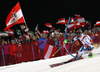 Marcel Hirscher of Austria skiing in the first run of the men slalom race of the Audi FIS Alpine skiing World cup in Schladming, Austria. Traditional The Night Race, men slalom race race of the Audi FIS Alpine skiing World cup, was held in Schladming, Austria, on Tuesday, 24th of January 2017.