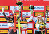 Silver Medal winner Tina Weirather of Liechtenstein World Champion Nicole Schmidhofer of Austria bronze medal winner Lara Gut of Switzerland during the Flowers ceremony for the women SuperG of FIS Ski Alpine World Cup. St. Moritz, Switzerland on 2017/02/07