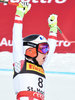 Winner Nicole Schmidhofer of Austria reacts after her run for the women SuperG of FIS Ski Alpine World Cup at the St. Moritz, Switzerland on 2017/02/07.