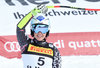Second placed Tina Weirather of Liechtenstein reacts after her run for the women SuperG of FIS Ski Alpine World Cup at the St. Moritz, Switzerland on 2017/02/07.