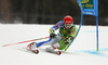 Zan Kranjec of Slovenia skiing in the first run of the men giant slalom race of the Audi FIS Alpine skiing World cup in Kranjska Gora, Slovenia. Men giant slalom race of the Audi FIS Alpine skiing World cup, was held in Kranjska Gora, Slovenia, on Saturday, 4th of March 2017.