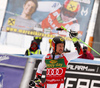 Winner Marcel Hirscher of Austria celebrates his medal won in the men giant slalom race of the Audi FIS Alpine skiing World cup in Kranjska Gora, Slovenia. Men giant slalom race of the Audi FIS Alpine skiing World cup, was held in Kranjska Gora, Slovenia, on Saturday, 4th of March 2017.