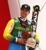 Third placed  Matts Olsson of Sweden celebrates his medal won in the men giant slalom race of the Audi FIS Alpine skiing World cup in Kranjska Gora, Slovenia. Men giant slalom race of the Audi FIS Alpine skiing World cup, was held in Kranjska Gora, Slovenia, on Saturday, 4th of March 2017.