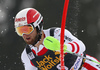 Marco Schwarz of Austria skiing in the first run of the men slalom race of the Audi FIS Alpine skiing World cup in Kranjska Gora, Slovenia. Men slalom race of the Audi FIS Alpine skiing World cup, was held in Kranjska Gora, Slovenia, on Sunday, 5th of March 2017.