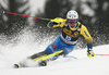 Andre Myhrer of Sweden skiing in the first run of the men slalom race of the Audi FIS Alpine skiing World cup in Kranjska Gora, Slovenia. Men slalom race of the Audi FIS Alpine skiing World cup, was held in Kranjska Gora, Slovenia, on Sunday, 5th of March 2017.