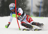 Luca Aerni of Switzerland skiing in the first run of the men slalom race of the Audi FIS Alpine skiing World cup in Kranjska Gora, Slovenia. Men slalom race of the Audi FIS Alpine skiing World cup, was held in Kranjska Gora, Slovenia, on Sunday, 5th of March 2017.