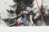 Marc Rochat of Switzerland skiing in the first run of the men slalom race of the Audi FIS Alpine skiing World cup in Kranjska Gora, Slovenia. Men slalom race of the Audi FIS Alpine skiing World cup, was held in Kranjska Gora, Slovenia, on Sunday, 5th of March 2017.