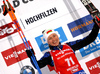 Winner Darya Domracheva of Belarus celebrate their medals won in the women 7.5km sprint race of IBU Biathlon World Cup in Hochfilzen, Austria.  Women 7.5km sprint race of IBU Biathlon World cup was held in Hochfilzen, Austria, on Friday, 8th of December 2017.