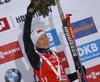 Winner Darya Domracheva of Belarus celebrate her medal won in the women 7.5km sprint race of IBU Biathlon World Cup in Hochfilzen, Austria.  Women 7.5km sprint race of IBU Biathlon World cup was held in Hochfilzen, Austria, on Friday, 8th of December 2017.