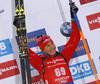 Second placed Anastasiya Kuzmina of Slovakia celebrate her medal won in the women 7.5km sprint race of IBU Biathlon World Cup in Hochfilzen, Austria.  Women 7.5km sprint race of IBU Biathlon World cup was held in Hochfilzen, Austria, on Friday, 8th of December 2017.