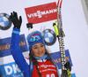 Third placed Dorothea Wierer of Italy celebrate her medal won in the women 7.5km sprint race of IBU Biathlon World Cup in Hochfilzen, Austria.  Women 7.5km sprint race of IBU Biathlon World cup was held in Hochfilzen, Austria, on Friday, 8th of December 2017.