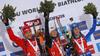 celebrate their medals won in the women 7.5km sprint race of IBU Biathlon World Cup in Hochfilzen, Austria.  Women 7.5km sprint race of IBU Biathlon World cup was held in Hochfilzen, Austria, on Friday, 8th of December 2017.