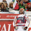 Andreas Sander of Germany reacts in the finish of the men super-g race of the Audi FIS Alpine skiing World cup in Val Gardena, Italy. Men super-g race of the Audi FIS Alpine skiing World cup, was held on Saslong course in Val Gardena Groeden, Italy, on Friday, 15th of December 2017.