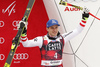 Third placed Matthias Mayer of Austria celebrates his medal won in the men super-g race of the Audi FIS Alpine skiing World cup in Val Gardena, Italy. Men super-g race of the Audi FIS Alpine skiing World cup, was held on Saslong course in Val Gardena Groeden, Italy, on Friday, 15th of December 2017.
