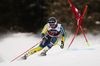 Matts Olsson of Sweden skiing in the first run of the men giant slalom race of the Audi FIS Alpine skiing World cup in Alta Badia, Italy. Men giant slalom race of the Audi FIS Alpine skiing World cup, was held on Gran Risa course in Alta Badia, Italy, on Sunday, 17th of December 2017.