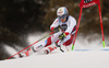 Loic Meillard of Switzerland skiing in the first run of the men giant slalom race of the Audi FIS Alpine skiing World cup in Alta Badia, Italy. Men giant slalom race of the Audi FIS Alpine skiing World cup, was held on Gran Risa course in Alta Badia, Italy, on Sunday, 17th of December 2017.
