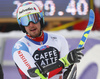 Luca Aerni of Switzerland reacts in the finish of the second run of the men giant slalom race of the Audi FIS Alpine skiing World cup in Alta Badia, Italy. Men giant slalom race of the Audi FIS Alpine skiing World cup, was held on Gran Risa course in Alta Badia, Italy, on Sunday, 17th of December 2017.
