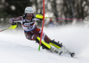 Anna Swenn Larsson of Sweden skiing in the first run of the women Snow Queen Trophy slalom race of the Audi FIS Alpine skiing World cup in Zagreb, Croatia. Women slalom race of the Audi FIS Alpine skiing World cup, was held on Sljeme above Zagreb, Croatia, on Wednesday, 3rd of January 2018.