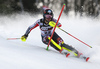 Erin Mielzynski of Canada skiing in the first run of the women Snow Queen Trophy slalom race of the Audi FIS Alpine skiing World cup in Zagreb, Croatia. Women slalom race of the Audi FIS Alpine skiing World cup, was held on Sljeme above Zagreb, Croatia, on Wednesday, 3rd of January 2018.