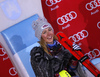 Winner Mikaela Shiffrin of USA celebrates her medal won in the women Snow Queen Trophy slalom race of the Audi FIS Alpine skiing World cup in Zagreb, Croatia. Women slalom race of the Audi FIS Alpine skiing World cup, was held on Sljeme above Zagreb, Croatia, on Wednesday, 3rd of January 2018.