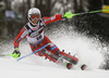 Sebastian Foss-Solevaag of Norway skiing in the first run of the men Snow Queen Trophy slalom race of the Audi FIS Alpine skiing World cup in Zagreb, Croatia. Men slalom race of the Audi FIS Alpine skiing World cup, was held on Sljeme above Zagreb, Croatia, on Thursday, 4th of January 2018.