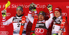 Winner Marcel Hirscher of Austria (M), second placed Michael Matt of Austria (L) and third placed Henrik Kristoffersen of Norway (R) celebrate their medals won in the men Snow Queen Trophy slalom race of the Audi FIS Alpine skiing World cup in Zagreb, Croatia. Men slalom race of the Audi FIS Alpine skiing World cup, was held on Sljeme above Zagreb, Croatia, on Thursday, 4th of January 2018.