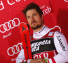 Winner Marcel Hirscher of Austria celebrates his medal won in the men Snow Queen Trophy slalom race of the Audi FIS Alpine skiing World cup in Zagreb, Croatia. Men slalom race of the Audi FIS Alpine skiing World cup, was held on Sljeme above Zagreb, Croatia, on Thursday, 4th of January 2018.