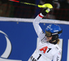 Second placed Bernadette Schild of Austria reacts in finish of the second run of the women night slalom race of the Audi FIS Alpine skiing World cup in Flachau, Austria. Women slalom race of the Audi FIS Alpine skiing World cup was held in Flachau, Austria, on Tuesday, 9th of January 2018.