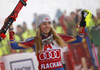 Winner Mikaela Shiffrin of USA celebrates her medal won in the women night slalom race of the Audi FIS Alpine skiing World cup in Flachau, Austria. Women slalom race of the Audi FIS Alpine skiing World cup was held in Flachau, Austria, on Tuesday, 9th of January 2018. <br>