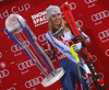 Winner Mikaela Shiffrin of USA celebrates her medal won in the women night slalom race of the Audi FIS Alpine skiing World cup in Flachau, Austria. Women slalom race of the Audi FIS Alpine skiing World cup was held in Flachau, Austria, on Tuesday, 9th of January 2018.