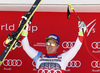 Winner Beat Feuz of Switzerland celebrate on the podium after men downhill race of the Audi FIS Alpine skiing World cup in Garmisch-Partenkirchen, Germany. Men downhill race of the Audi FIS Alpine skiing World cup was held on Kandahar track in Garmisch-Partenkirchen, Germany, on Saturday, 27th of January 2018.