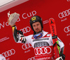 celebrate on the podium after the men giant slalom race of the Audi FIS Alpine skiing World cup in Garmisch-Partenkirchen, Germany. Men giant slalom race of the Audi FIS Alpine skiing World cup was held on Kandahar track in Garmisch-Partenkirchen, Germany, on Sunday, 28th of January 2018.