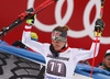 Second placed Manuel Feller of Austria celebrates after the men giant slalom race of the Audi FIS Alpine skiing World cup in Garmisch-Partenkirchen, Germany. Men giant slalom race of the Audi FIS Alpine skiing World cup was held on Kandahar track in Garmisch-Partenkirchen, Germany, on Sunday, 28th of January 2018.