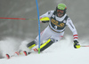 Michael Matt of Austria skiing in the first run of the men slalom race of the Audi FIS Alpine skiing World cup in Kranjska Gora, Slovenia. Men slalom race of the Audi FIS Alpine skiing World cup was held on Podkoren track in Kranjska Gora, Slovenia, on Sunday, 4th of March 2018.