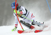 Marco Schwarz of Austria skiing in the first run of the men slalom race of the Audi FIS Alpine skiing World cup in Kranjska Gora, Slovenia. Men slalom race of the Audi FIS Alpine skiing World cup was held on Podkoren track in Kranjska Gora, Slovenia, on Sunday, 4th of March 2018.