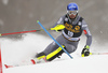 Jean-Baptiste Grange of France skiing in the first run of the men slalom race of the Audi FIS Alpine skiing World cup in Kranjska Gora, Slovenia. Men slalom race of the Audi FIS Alpine skiing World cup was held on Podkoren track in Kranjska Gora, Slovenia, on Sunday, 4th of March 2018.