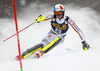 Linus Strasser of Germany skiing in the first run of the men slalom race of the Audi FIS Alpine skiing World cup in Kranjska Gora, Slovenia. Men slalom race of the Audi FIS Alpine skiing World cup was held on Podkoren track in Kranjska Gora, Slovenia, on Sunday, 4th of March 2018.