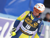 Mattias Hargin of Sweden reacts in finish of the second run of the men slalom race of the Audi FIS Alpine skiing World cup in Kranjska Gora, Slovenia. Men slalom race of the Audi FIS Alpine skiing World cup was held on Podkoren track in Kranjska Gora, Slovenia, on Sunday, 4th of March 2018.