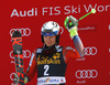 Second placed Henrik Kristoffersen of Norway celebrates on the podium after the men slalom race of the Audi FIS Alpine skiing World cup in Kranjska Gora, Slovenia. Men slalom race of the Audi FIS Alpine skiing World cup was held on Podkoren track in Kranjska Gora, Slovenia, on Sunday, 4th of March 2018.