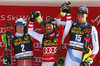 Winner Marcel Hirscher of Austria (M), second placed Henrik Kristoffersen of Norway (L) and third placed Ramon Zenhaeusern of Switzerland (R) celebrate on the podium after the men slalom race of the Audi FIS Alpine skiing World cup in Kranjska Gora, Slovenia. Men slalom race of the Audi FIS Alpine skiing World cup was held on Podkoren track in Kranjska Gora, Slovenia, on Sunday, 4th of March 2018.